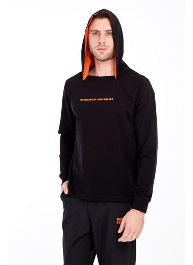 Kiğılı Kapüşonlu Sweatshirt Siyah